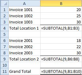 Subtotal-formulas